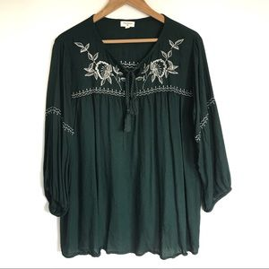 World Market Embroidered Peasant Blouse